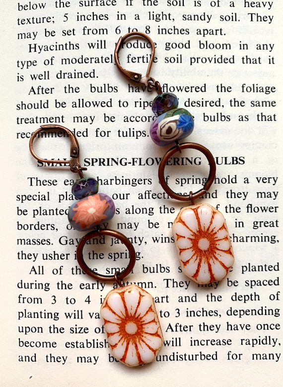 Vintage Style Czech Glass Earrings, Humblebeads Earrings, Spring Bead Earrings, Purple Bead Earrings, Copper Circle Earrings