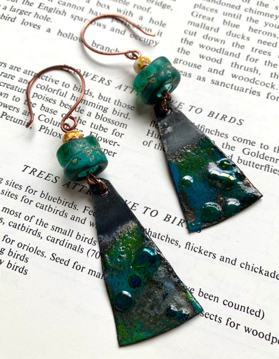 Artisan Glass Earrings, Teal Glass Earrings, Blue Glass Earrings, Numinosity Earrings, Earthy Glass Earrings, One of a Kind Glass Earrings