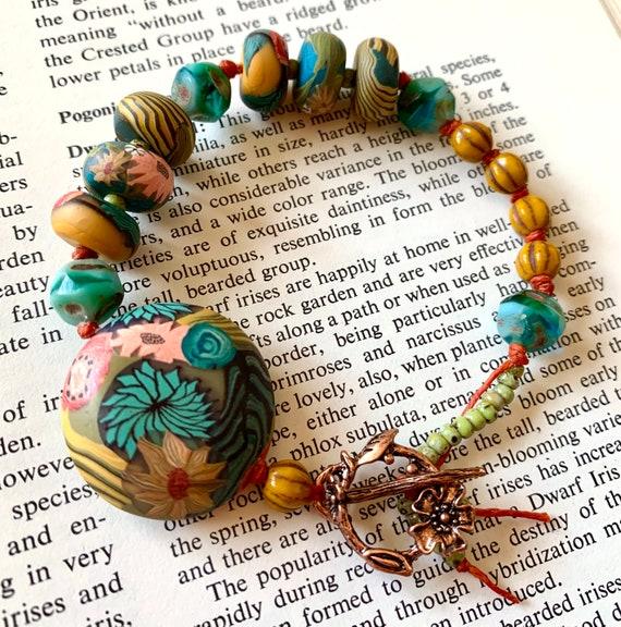 Humblebeads Bracelet, Rainbow Polymer Clay Bracelet, Whimsical Beaded Bracelet, Waxed Irish Linen Bracelet, Colorful Beaded Bracelet