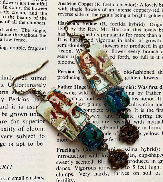Alice in Wonderland Earrings, Drink Me Earrings, Art Glass Earrings, Faux Tin Earrings, Humblebeads Earrings, Flower Earrings