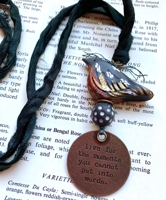 Black Bird Necklace, Black Silk Bird Necklace, Quote Bird Necklace, Moments You Cannot Put into Words Necklace