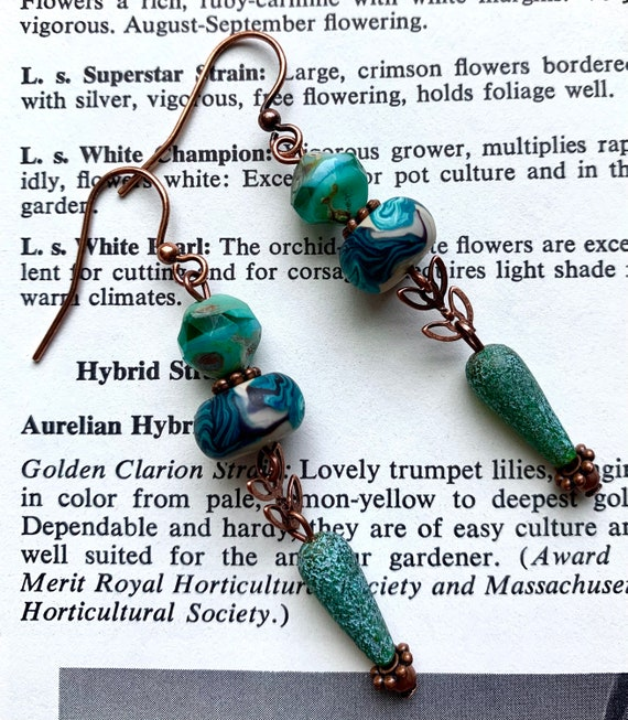 Blue Beaded Earrings, Teal Bead Earrings, Artisan Bead Earrings, Humblebeads Earrings, Blue Czech Glass Earrings