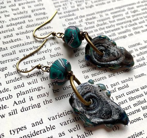 Artisan Glass Pazool Earrings, Green Butterfly Wing Earrings, Humblebeads Earrings, Numinosity Earrings, Green Artisan Glass Earrings