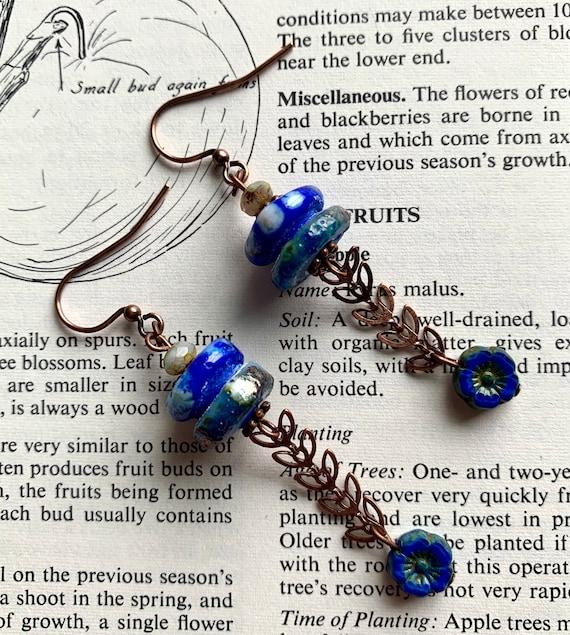 Cobalt Art Glass Earrings, Artisan Glass Blue Earrings, Leaf Chain Earrings, Blue Floral Earrings, Chain Earrings, Numinosity Earrings