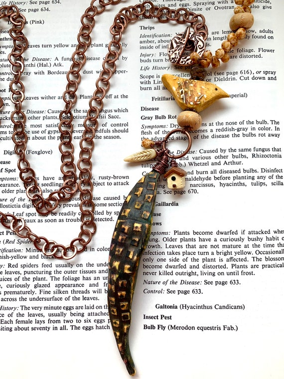 The Bird and the Bean Necklace, Yellow Bird Necklace, Bean Pod Necklace, Artisan Yellow Necklace, Copper Chain and Beaded Necklace