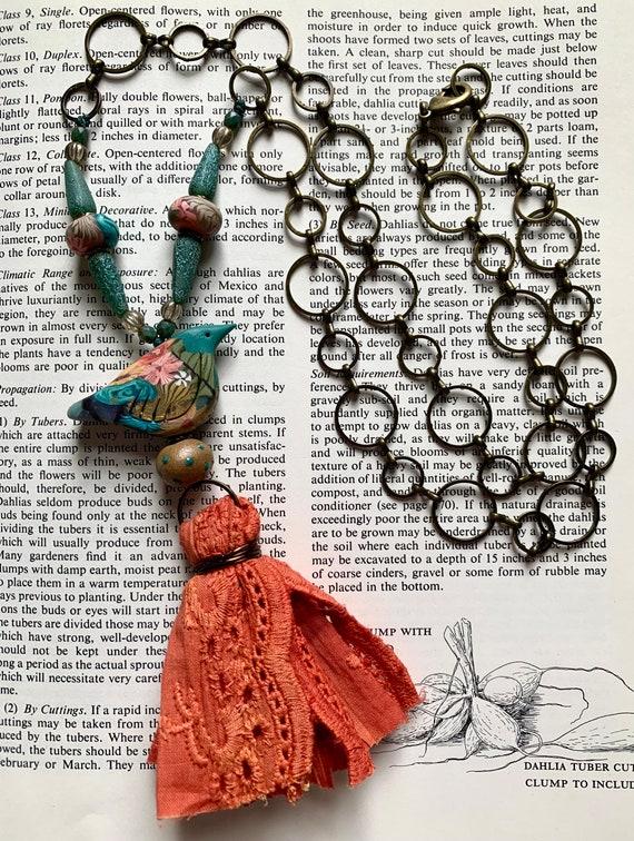 Folk Bird Necklace, Teal Art Bird Necklace, Coral Tassel Necklace, Coral Lace Necklace, Mixed Media Bird Necklace