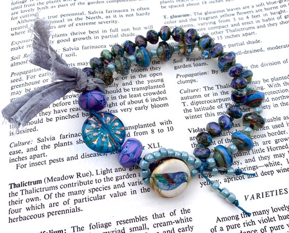 Blue Czech Glass Bead Bracelet, Blue Bird Beaded Bracelet, Humblebeads Bracelet, Purple Bead Bracelet