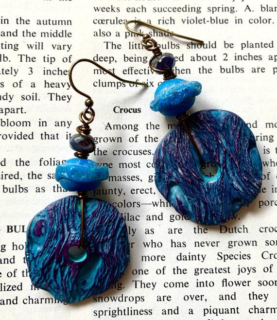 Blue Cholla Wood Inspired Earrings, Blue Artisan Earrings, Purple Polymer Clay Earrings, Blue Art Glass Earrings, Auntiemoons Earrings