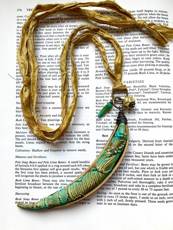 Green Seed Pod Necklace, Artisan Seed Pod Necklace, Recycled Silk Necklace, Yellow Silk Necklace, Trumpet Vine Necklace