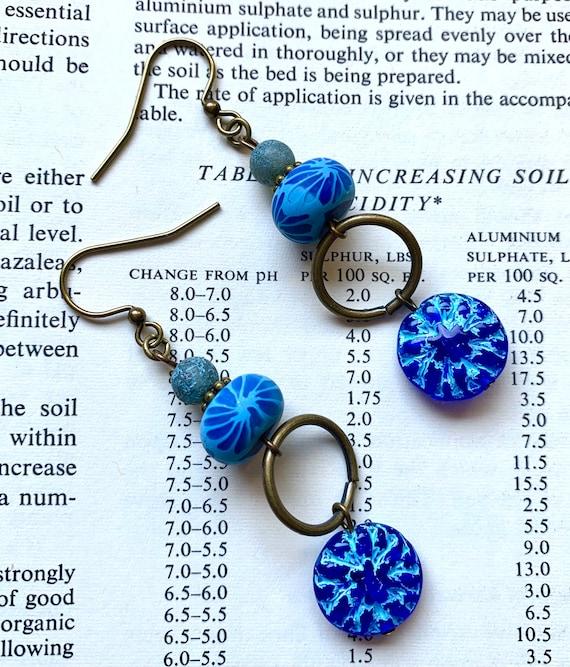 Blue Flower Earrings, Czech Glass Flower Earrings, Navy Blue Earrings, Art Bead Earrings, Humblebeads Earrings, Polymer Clay Earrings