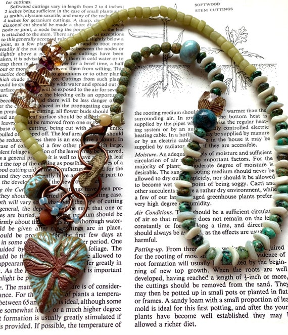 Blue Dragonfly Heart Necklace, Green Jade Beaded Necklace, Artisan Natural Stone Necklace, Turquoise Beaded Necklace