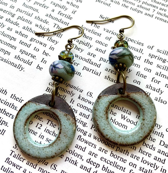Blue Circle Earrings, Ceramic Hoop Earrings, Polymer Clay Earrings, Blue Floral Earrings, Flower Earrings, Marsha Neal Studio Earrings