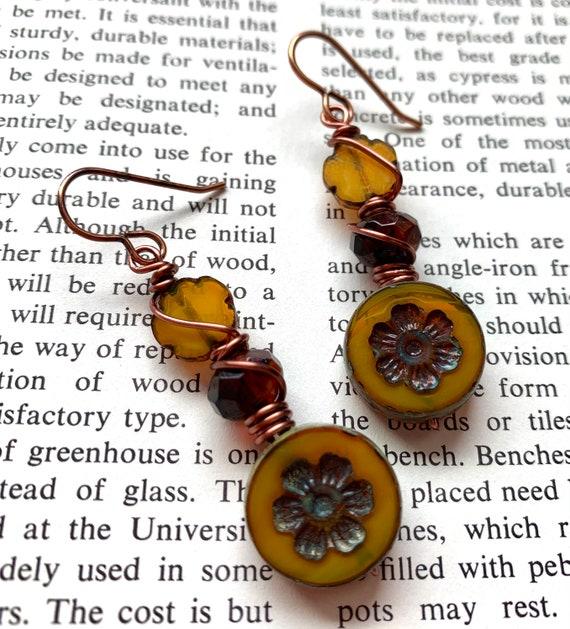 Yellow Flower Bead Earrings, Copper Wrapped Bead Earrings, Wire Wrapped Czech Glass Earrings