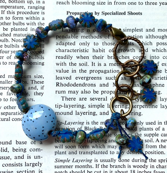 Blue Beaded Bracelet, Blue Czech Glass Bracelet, Hand Painted Ceramic Bead Bracelet, Waxed Linen Bracelet