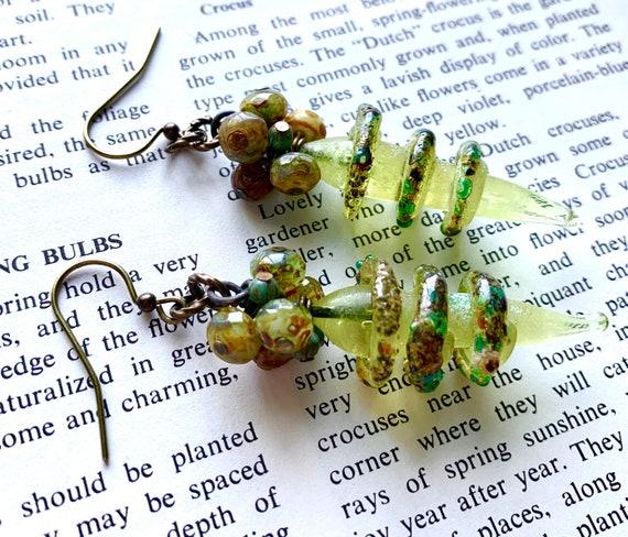 Lime Green Art Glass Spiral Earrings, Green Spiral Glass Earrings, Numinosity Spiral Earrings, Beaded Glass Earrings