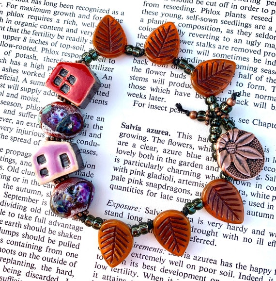 Tiny House Bracelet, Red House Beaded Bracelet, Purple House Bead Bracelet, Orange Leaf Bracelet, Artisan Glass Bracelet