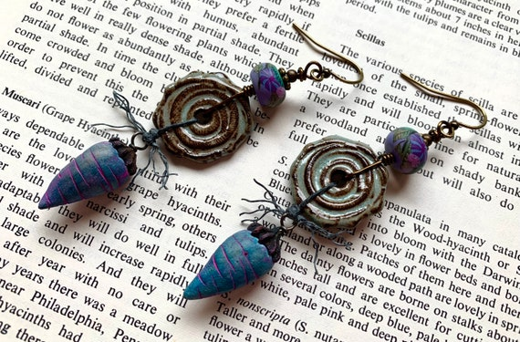 Purple Carrot Earrings, Teal Spiral Earrings, Humblebeads Earrings, Purple Blue Earrings, Artisan Spiral Earrings,