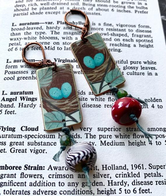 Mismatched Robins Nest Earrings, Blue Egg Nest Earrings, Faux Tin Nest Earrings, Humblebeads Earrings