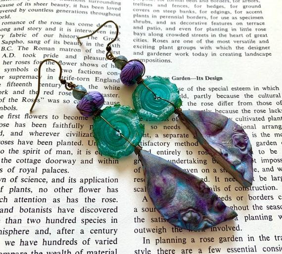 Serenity Face Earrings, Floral Face Earrings, Artisan Teal Glass Earrings, Humblebeads Earrings, Teal Earrings, Purple Earrings