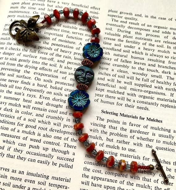 Blue Flower Bracelet, Blue Face Bracelet, Orange Beaded Bracelet, Orange and Blue Bracelet, Handmade Czech Glass Bracelet