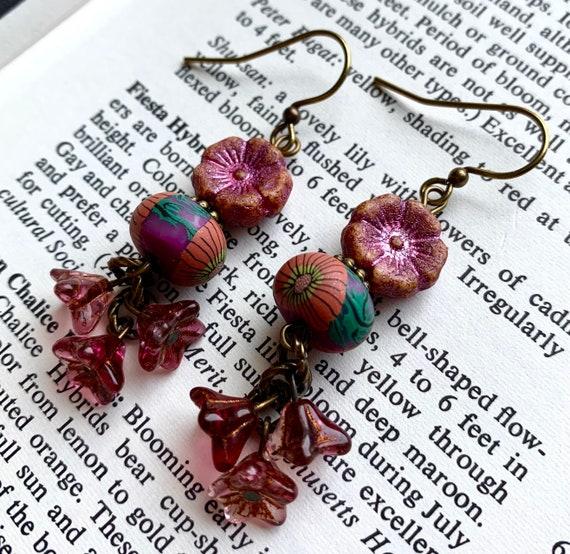 Pink Flower Earrings, Pink Flower Bead Earrings, Humblebeads Earrings, Art Bead Floral Earrings, Pink Earrings, Czech Glass Earrings
