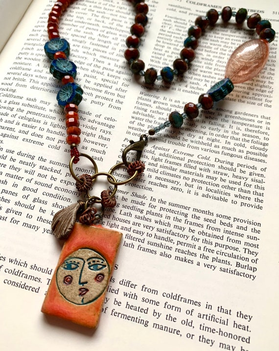 Lady in the Moon Necklace, Orange Face Necklace, Blue Flower Necklace, Czech Glass Beaded Necklace, Diane Hawkey Necklace