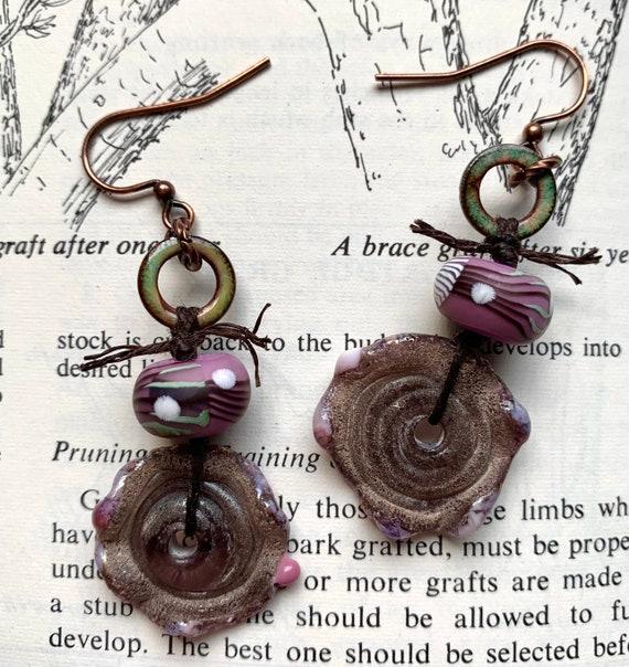 Purple Glass Wheel Earrings, Criffle Earrings, Purple Whimsical Earrings, Humblebeads Earrings, Numinosity Earrings, Purple Beaded Earrings