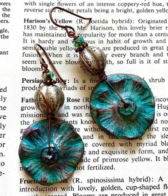 Blue Botanical Earrings, Auntiemoons Earrings, Silver Artisan Earrings, Czech Glass Beaded Earrings
