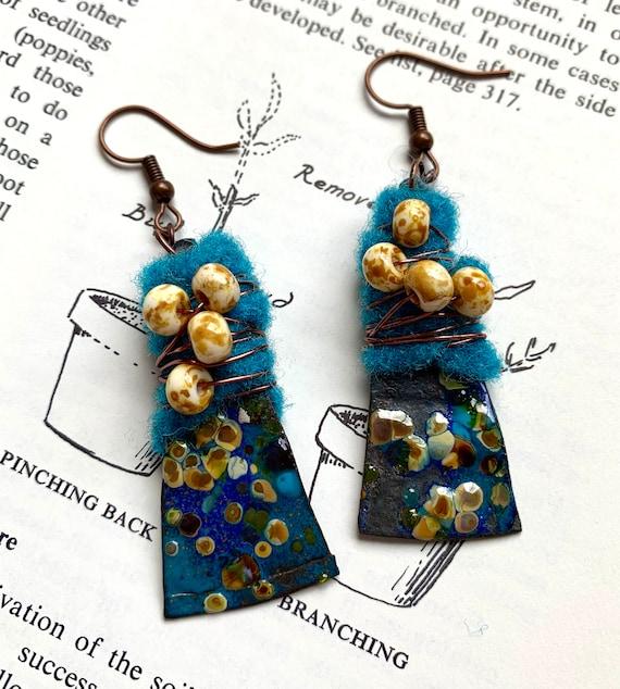 Blue Enamel Tin Tin Earrings, Antique Tin Earrings, Blue Enamel Earrings, Felted Earrings, Beaded Enamel Earrings, Artisan Earrings