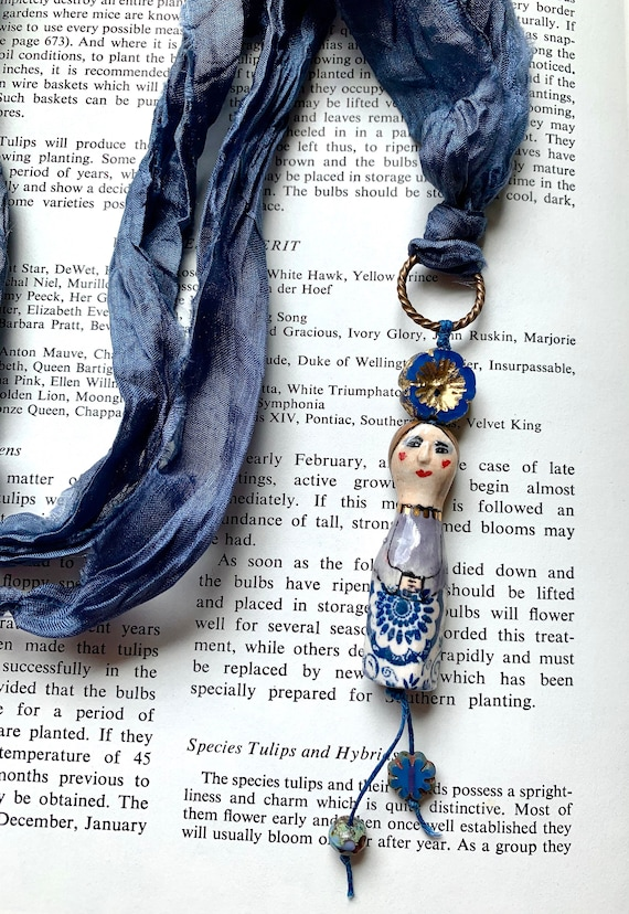 Porcelain Lady Necklace, Hand Painted Doll Necklace, Blue Silk Necklace, Blue Doll Necklace, Diane Hawkey Necklace