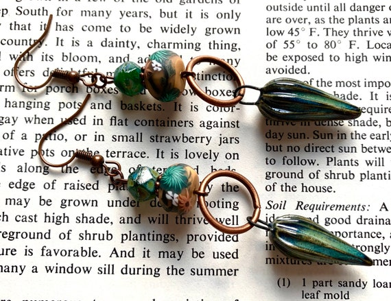 Green Ceramic Seed Pod Earrings, Orange Polymer Clay Earrings, Green and Orange Artisan Earrings, Seed Pod Earrings, Copper Beaded Earrings