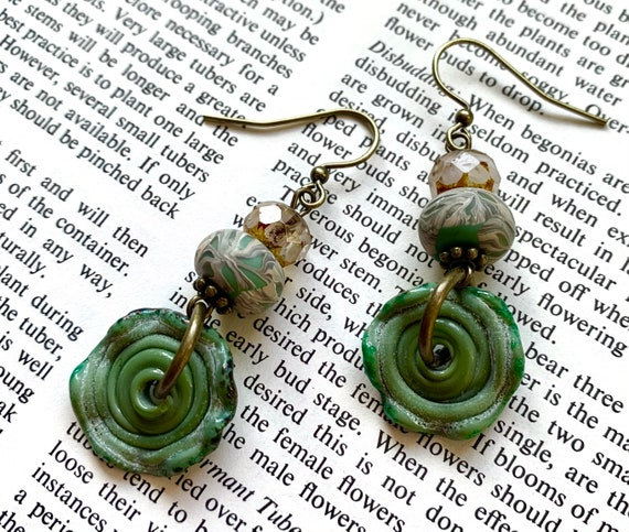 Green Glass Wheel Earrings, Artisan Glass Earrings, Humblebeads Earrings, Green Earrings, White and Green Earrings, Polymer Clay Earrings