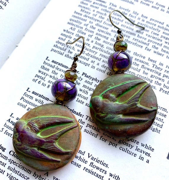 Sparrow Earrings, Purple Art Glass Earrings, Numinosity Earrings, Auntiemoons Earrings, Green Polymer Clay Earrings, Bird Earrings