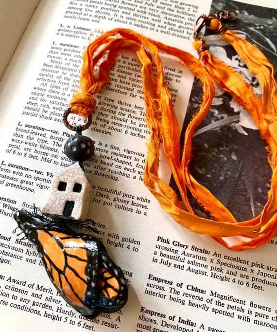 Monarch Necklace, House Necklace, Butterfly Necklace, Orange Silk Necklace, Monarch Jewelry, Artisticaos Necklace