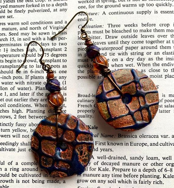 Purple Splatter Paint Earrings, Artisan Clay Circle Earrings, Orange Art Earrings, Purple Beaded Earrings, Orange Beaded Earrings