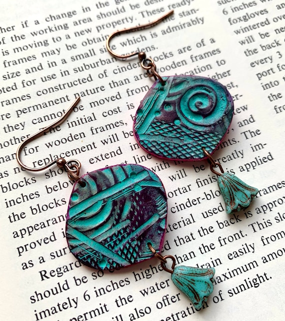 Abstract Blue and Pink Earrings, Auntiemoons Earrings, Swirl Earrings, Hot Pink Earrings, Blue Tulip Earrings