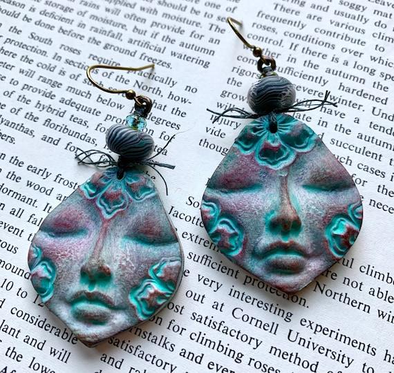 Serene Face Earrings, Serenity Earrings, Face Earrings, Auntiemoons Face Earrings, Humblebeads Earrings, Blue Face Earrings