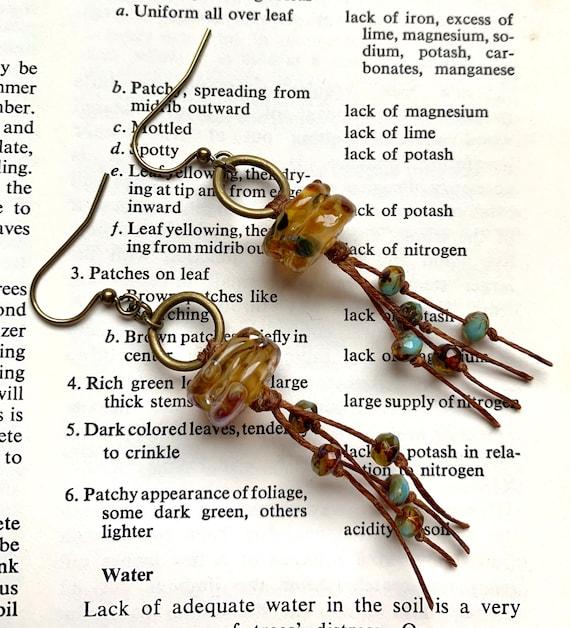 Honey Drip Glass Earrings, Artisan Glass Earrings, Numinosity Earrings, Waxed Irish Linen Earrings, Honey Brown Earrings