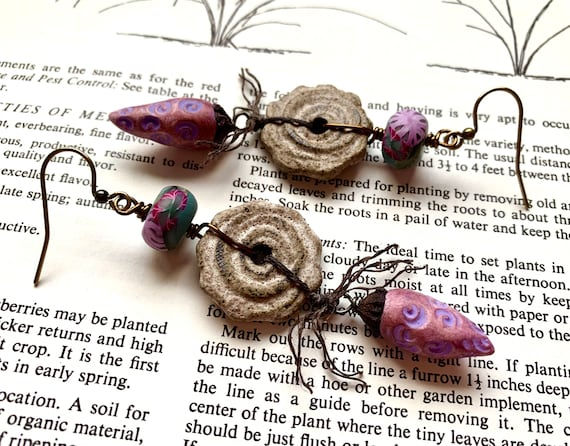 Purple Floral Earrings, Ceramic Spiral Earrings, Spring Flower Earrings, Purple Seed Pod Earrings, Curlicue Earrings, Artisan Earrings