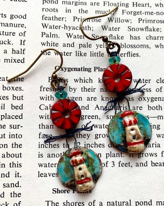 Lighthouse Earrings, Ceramic Lighthouse Earrings, Red Beaded Lighthouse Earrings, Red & Blue Beaded Earrings, Artisticaos Earrings