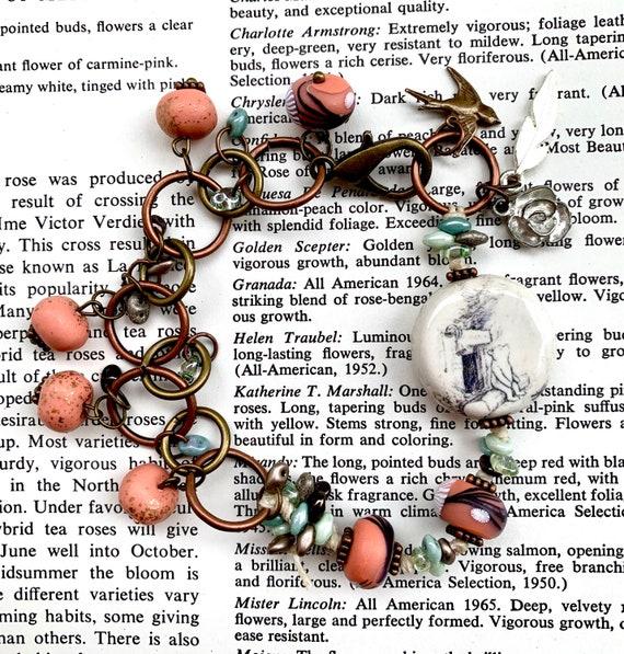 Winnie the Pooh Bracelet, Ceramic Pooh Bear Bracelet, Pink Beaded Bracelet, Blue Beaded Bracelet, Humblebeads Bracelet