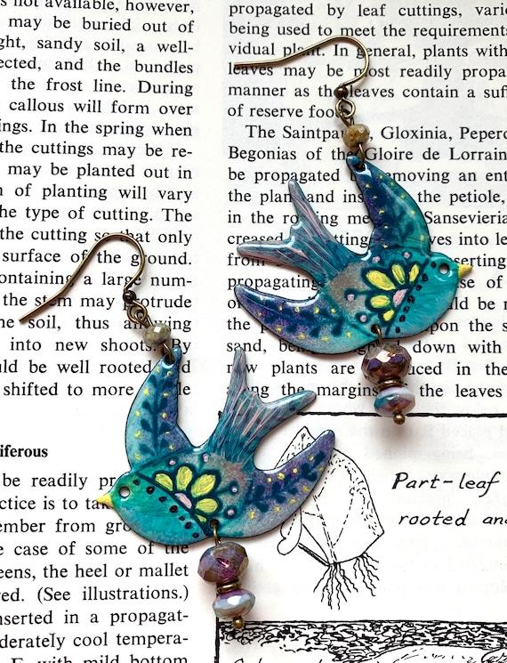 Blue Bird Enamel Earrings, Blue Bird Glass Earrings, Swooping Bird Enamel Earrings