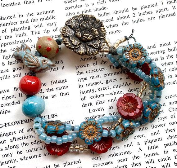 Blue Bird Beaded Bracelet, Ceramic Bird Bracelet, Robins Egg Blue Bracelet, Blue and Red Beaded Bracelet