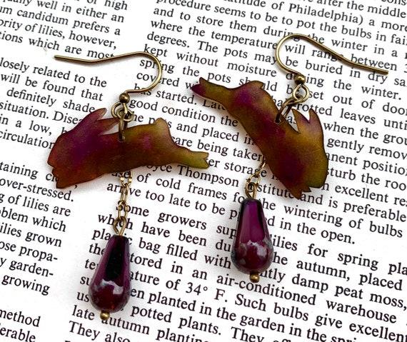 Jumping Rabbit Earrings, Purple Rabbit Artisan Earrings, Rabbit Shrinket Earrings, Shrinket Earrings, Auntiemoons Earrings
