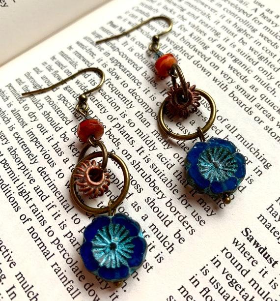 Blue Flower Earrings, Orange Bead Earrings, Blue and Orange Earrings, Brass Earrings, Floral Earrings