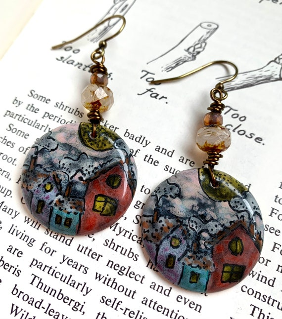 Artisan Hand Painted House Earrings, Ceramic House Earrings, Ceramic Hand Painted Earrings, Art Earrings