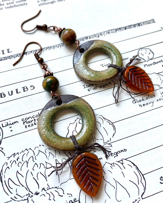 Green Ceramic Hoop Earrings, Green Stone Earrings, Jasper Earrings, Orange Leaf Earrings, Marsha Neal Studios Earrings