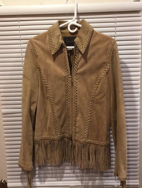 Vintage Suede Leather Fringed Jacket. 7/8