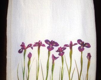 Flour Sack Kitchen Towel, Iris Flowers