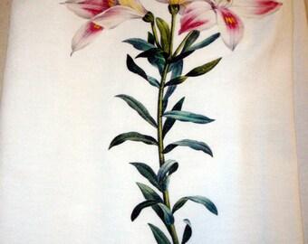 Flour Sack Kitchen Towel, Tea Towel, Lily Flower